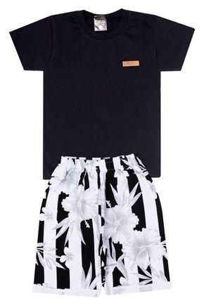 Conjunto Menino de Verão Camiseta Preto e Bermuda Branco - Ollelê