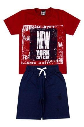 Conjunto Menino de Verão Camiseta Vermelha e Bermuda Marinho - Ollelê