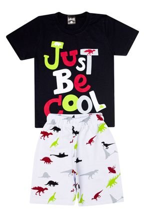 Conjunto Menino de Verão Camiseta Preta e Bermuda Branco - Ollelê