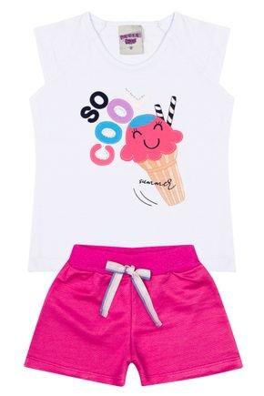 Conjunto Menina Blusa Branca e Shorts em Moletinho Chiclete - Pimentinha