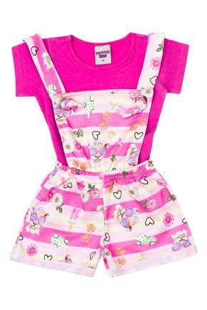 Conjunto Menina Jardineira Rosinha e Blusa em Cotton Pink - Pimentinha