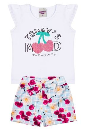 Conjunto Menina Blusa Branco e Shorts Azul Claro Sublimado - Pimentinha