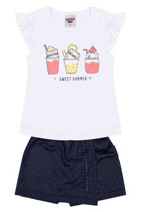 Conjunto Menina Blusa Branca e Shorts Jeans Marinho - Pimentinha