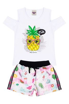 Conjunto Menina Blusa Branca e Shorts Rosinha - Pimentinha