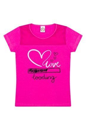 Blusa Menina em Cotton Pink com Recorte em Tule - Pimentinha