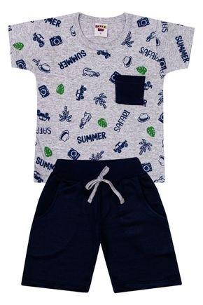 Conjunto Menino Camiseta Mescla e Bermuda Marinho - Pimentinha