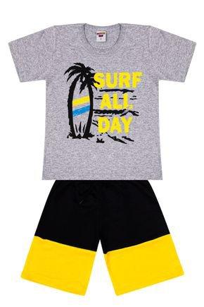 Conjunto Menino Camiseta Mescla e Bermuda Preta - Pimentinha