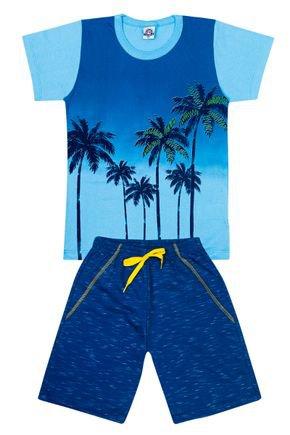 Conjunto Menino Camiseta Azul e Bermuda Jade - Pimentinha