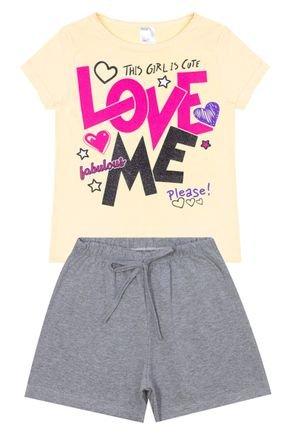Conjunto Menina em Cotton Blusa Amarela e Shorts Mescla - Liga Nessa