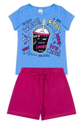 Conjunto Menina em Cotton Blusa Azul e Shorts Pink - Liga Nessa