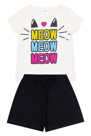 Conjunto Menina em Cotton Blusa Off White e Shorts Preto - Liga Nessa