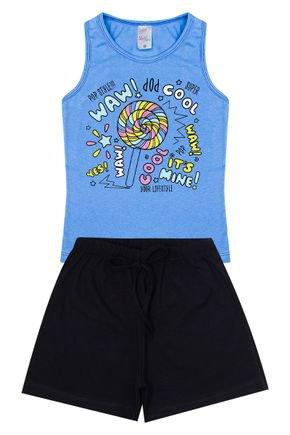 Conjunto Menina em Cotton Regata Azul e Shorts Preto - Kappes