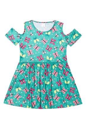 Vestido Menina de Verão em Suplex Verde Claro Sublimado - Liga Nessa