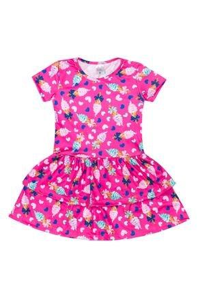 Vestido Menina de Verão em Suplex Chiclete Sublimado - Liga Nessa