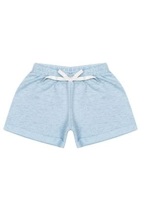 Shorts Menina em Moletinho Azul Claro Mesclado de Verão - Ralakids