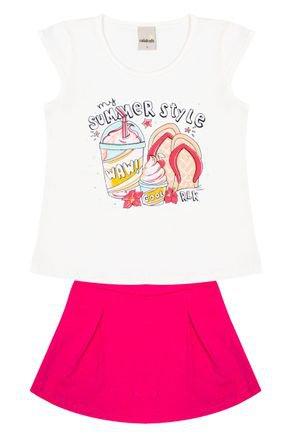 Conjunto Menina de Verão Blusa Off White e Shorts Saia Rosa - Ralakids