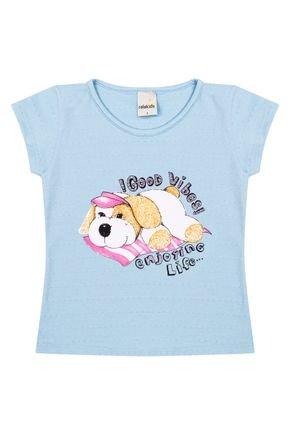 Blusa Menina em Cotton Azul Bebê de Verão - Ralakids