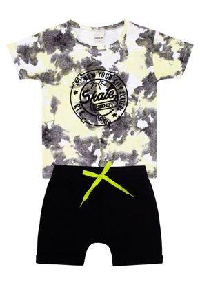 Conjunto Menino de Verão Camiseta Amarela e Bermuda Preto - Ralakids