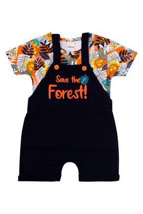 Conjunto Jardineira Menino Marinho e Camiseta Laranja de Verão - Ralakids