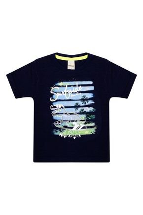Camiseta Menino em Meia Malha Marinho de Verão - Ralakids