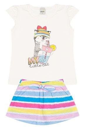 Conjunto Menina de Verão Blusa Off White e Shorts Saia Azul - Ralakids