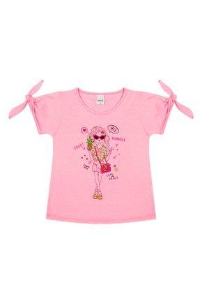Blusa Menina em Meia Malha Flamê Pink de Verão - Ralakids