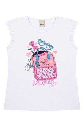 Blusa Menina em Cotton Branco de Verão - Ralakids