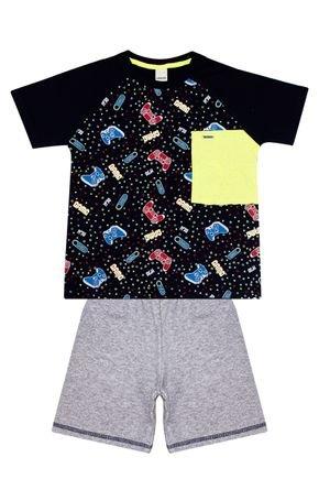 Conjunto Menino de Verão Camiseta Marinho e Bermuda Mescla - Ralakids
