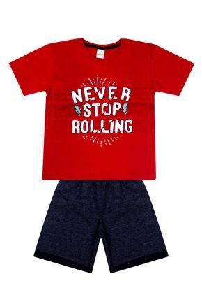 Conjunto Menino de Verão Camiseta Vermelha e Bermuda Marinho - Ralakids