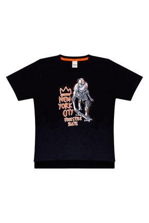 Camiseta Menino em Meia Malha Preta de Verão - Ralakids