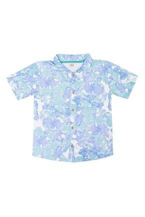 Camiseta Menino em Meia Malha Azul Rotativa de Verão - Ralakids