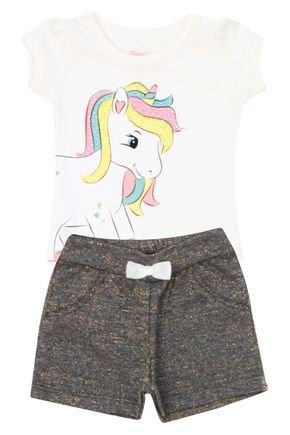 Conjunto Menina de Verão Blusa Marfim e Shorts Chumbo - Tileesul