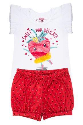 Conjunto Menina de Verão Blusa Branca e Shorts Vermelha - Tileesul