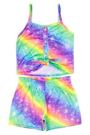 Conjunto Menina de Verão Blusa e Shorts Tie Dye - Tileesul