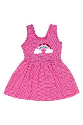 Vestido Menina em Meia Malha Pink Listrada de Verão - Tileesul