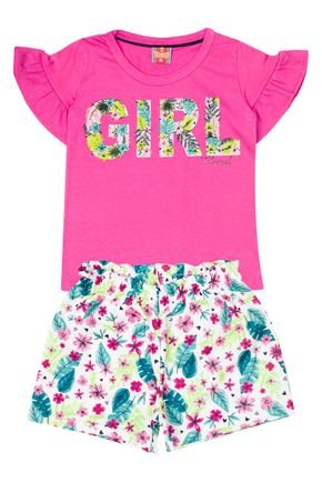 Conjunto Menina Blusa Chiclete e Shorts em Moletinho Branco - Tileesul