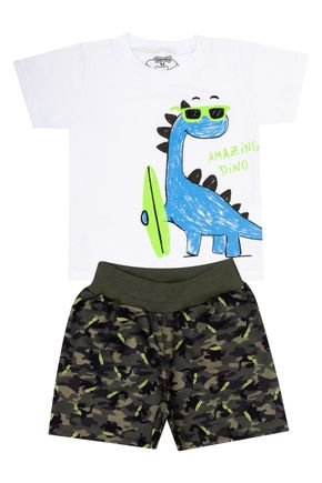 Conjunto Menino de Verão Camiseta Branca e Bermuda Verde Militar - Tileesul