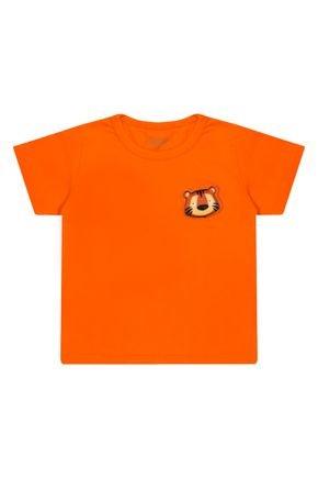 Camiseta Menino em Meia Malha Laranja de Verão - Tileesul
