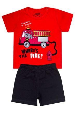 Conjunto Menino de Verão Camiseta Vermelha e Bermuda Preto - Tileesul