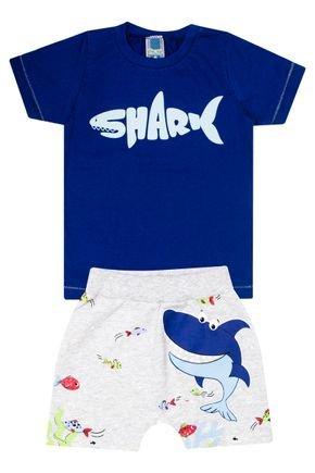 Conjunto Menino de Verão Camiseta Azul e Bermuda Mescla Crú - Tileesul