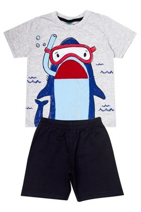 Conjunto Menino de Verão Camiseta Mescla Crú e Bermuda Preto - Tileesul
