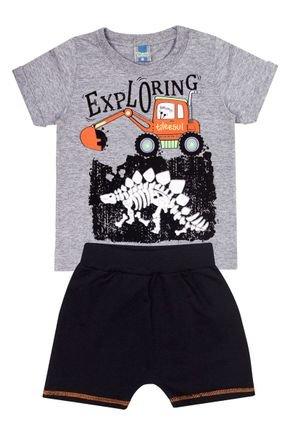 Conjunto Menino de Verão Camiseta Mescla e Bermuda Preto - Tileesul