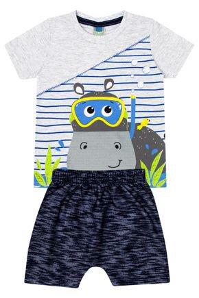 Conjunto Menino de Verão Camiseta Mescla Crú e Bermuda Marinho - Tileesul