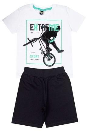 Conjunto Menino de Verão Camiseta Branca e Bermuda Preto - Tilessul