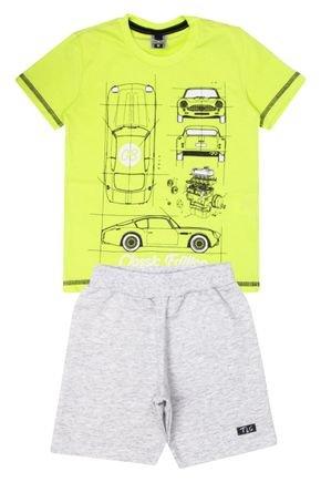 Conjunto Menino de Verão Camiseta Verde e Bermuda Mescla Crú - Tileesul