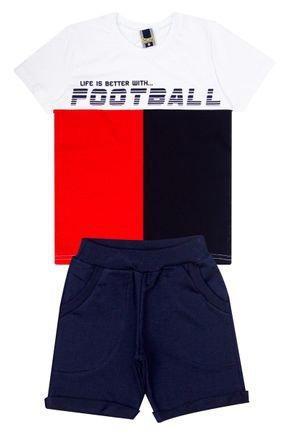 Conjunto Menino de Verão Camiseta Branca e Bermuda Marinho - Tilessul