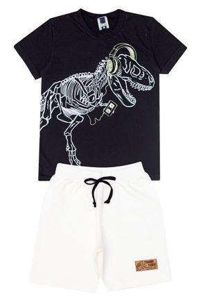 Conjunto Menino de Verão Camiseta Preta e Bermuda Marfim - Tilessul