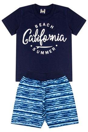 Conjunto Menino de Verão Camiseta Marinho e Bermuda  Azul - Tilessul