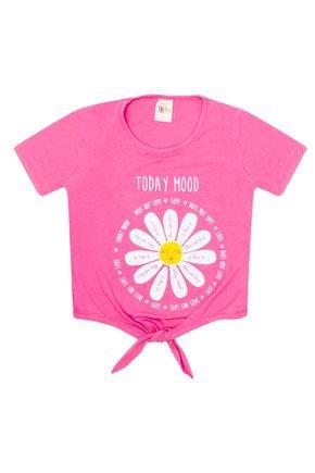 Blusa Menina de Verão em Viscose Rosa - Trin