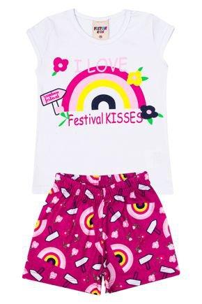 Conjunto Menina Blusa Branco e Shorts  Pink Sublimado - Viston